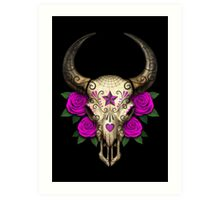 Bull Sugar Skull with Purple Roses Art Print