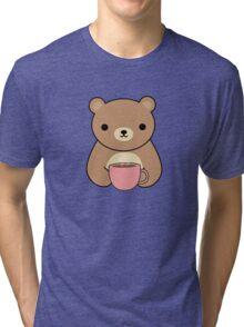 Cute and Kawaii Brown Bear Drinking Coffee Tri-blend T-Shirt