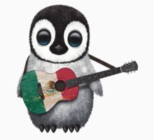 Baby Penguin Playing Mexican Flag Guitar One Piece - Short Sleeve