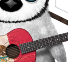 Baby Penguin Playing Mexican Flag Guitar Sticker