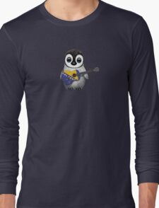 Baby Penguin Playing Bosnia-Herzegovina Flag Guitar Long Sleeve T-Shirt