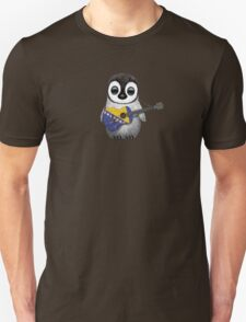 Baby Penguin Playing Bosnia-Herzegovina Flag Guitar Unisex T-Shirt