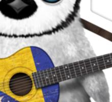 Baby Penguin Playing Bosnia-Herzegovina Flag Guitar Sticker