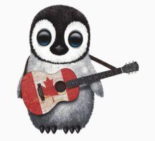 Baby Penguin Playing Canadian Flag Guitar Kids Tee