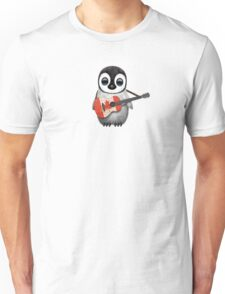 Baby Penguin Playing Canadian Flag Guitar Unisex T-Shirt