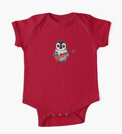 Baby Penguin Playing Chilean Flag Guitar One Piece - Short Sleeve