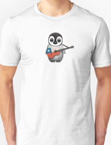 Baby Penguin Playing Chilean Flag Guitar Unisex T-Shirt
