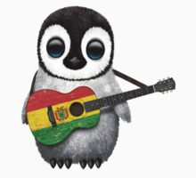 Baby Penguin Playing Bolivian Flag Guitar One Piece - Short Sleeve