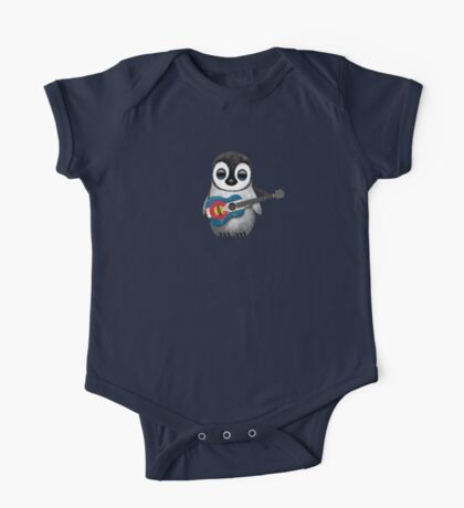 Baby Penguin Playing Colorado Flag Guitar One Piece - Short Sleeve