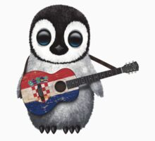 Baby Penguin Playing Croatian Flag Guitar One Piece - Short Sleeve