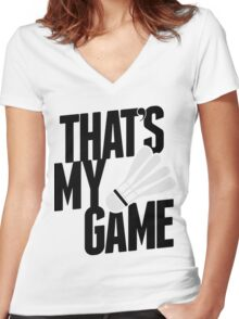 Badminton - That's My Game Badminton Shirts Men Women's Fitted V-Neck T-Shirt