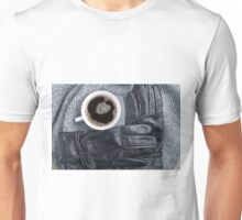 Top view of a white cup of coffee and black women's gloves Unisex T-Shirt