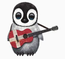 Baby Penguin Playing Danish Flag Guitar Kids Clothes
