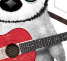 Baby Penguin Playing Danish Flag Guitar Sticker