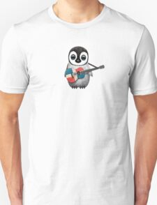 Baby Penguin Playing Dominican Republic Flag Guitar Unisex T-Shirt