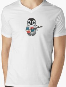 Baby Penguin Playing Dominican Republic Flag Guitar Mens V-Neck T-Shirt