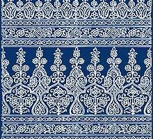 Indigo and White Paisley Pattern by Greenbaby