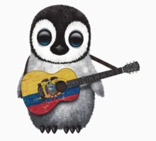 Baby Penguin Playing Ecuadorian Flag Guitar One Piece - Long Sleeve