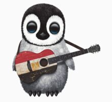 Baby Penguin Playing Egyptian Flag Guitar T-Shirt