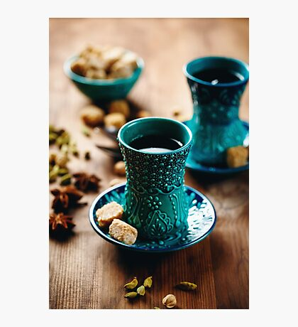 Tea or Hot Wine or Different Drink with Various Spices Photographic Print