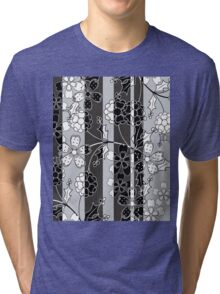 The floral pattern.Black and white.Striped background. Tri-blend T-Shirt