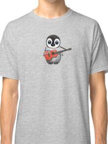 Baby Penguin Playing Bermuda Flag Guitar Classic T-Shirt