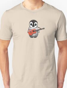 Baby Penguin Playing Bermuda Flag Guitar Unisex T-Shirt