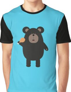 Black Bear with chicken leg Graphic T-Shirt