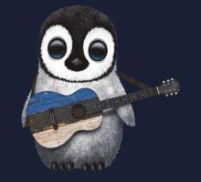 Baby Penguin Playing Estonian Flag Guitar Kids Clothes