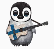 Baby Penguin Playing Finnish Flag Guitar Kids Clothes