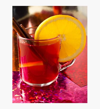 Fruit mulled wine with cinnamon and orange Photographic Print