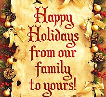Holiday Parchment Christmas Card - Happy Holidays by Sol Noir Studios