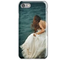 Woman with Long Hair in White Dress  iPhone Case/Skin
