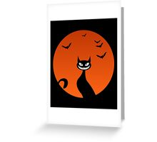 scary Cat Blood Moon And Bats Horror Greeting Card