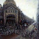 Afternoon rush,Flinders Street, Melbourne by Ivana Pinaffo