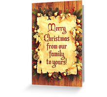 Holiday Parchment Christmas Card - Merry Christmas Greeting Card