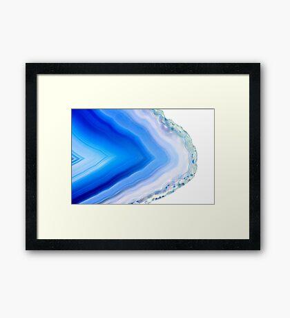 Super macro of blue agate mineral Framed Print