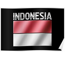 Indonesia - Indonesian Flag & Text - Metallic Poster
