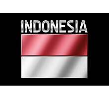 Indonesia - Indonesian Flag & Text - Metallic Photographic Print