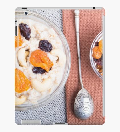 Top view of a portion of oatmeal with fruit and berries iPad Case/Skin