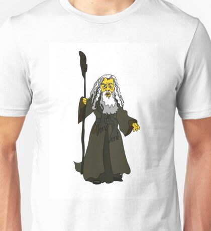 A white-haired old man with a stick in rags Unisex T-Shirt