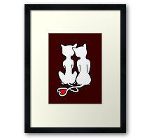 Love Cats Solid White Framed Print