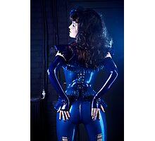 Blue latex corset 02 Photographic Print