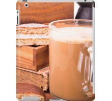 Big mug of hot cocoa with foam and chocolate biscuit halves iPad Case/Skin