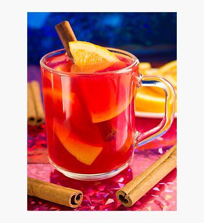 Transparent mug with citrus mulled wine Photographic Print