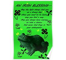 Froggy in Clover... or Shamrocks? Poster