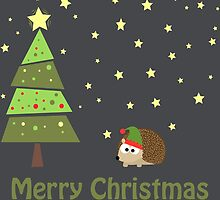 Cute hedgehog Christmas Scene by Eggtooth