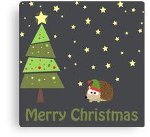 Cute hedgehog Christmas Scene Canvas Print