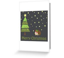 Cute hedgehog Christmas Scene Greeting Card