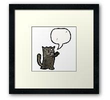 black cat cartoon Framed Print